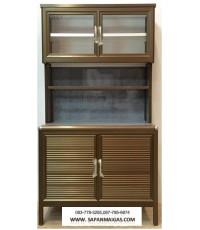 ตู้ครัวท๊อปเรียบโฟเมก้า (ขอบมน) 1 เมตร สีชา