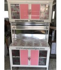 ตู้ครัวอลูมิเนียมปูกระเบื้องเคลือบขาวขอบมน 100 ซม