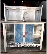 ซิ้งค์ล้างจาน1 หลุม มีที่พัก ขนาด 1 เมตร แบบมีตู้และต่อบน (สีอลูมิเนียม) ตราซันชายน์