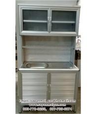 ตู้ครัวอลูมิเนียมพร้อมอ่างล้างจาน(ขอบมน) ขนาด 1 เมตร สีอลูมิเนียม