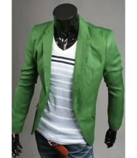 จำหน่าย เสื้อสูท/แจ็คเก็ตสูท สำหรับผู้ชาย Stylish Two Buttons สีเขียว ราคาถูก (พรีออเดอร์)