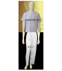 เสื้อปฏิบัติธรรม + กางเกงยางยืด ยี่ห้อรัตนาภรณ์  จำหน่ายโดยร้านสะพานบุญ ตัวแทนจำหน่ายอย่างเป็นทางการ