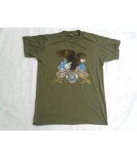 เสื้อยืดสีเขียวทหารอเมริกา