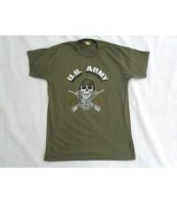 เสื้อยืดสีเขียวทหารอเมริกา ลายกะโหลก U.S.ARMY