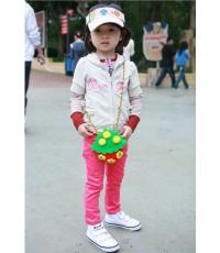 กางเกงยีนส์ขาเดฟ สีชมพู กระดุม+ซิปหน้า ปรับเอวได้ (Size.100)