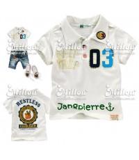 Sago Kids เสื้อคอปก ผ้า Cotton ปักแปะ+พิมพ์ลายหน้า-หลัง  สีขาว Size.11**สินค้าหมด**