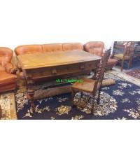 โต๊ะทำงานโบราณ ไม้โอ๊คแกะสลัก คศ.1880  งานฝรั่งเศส