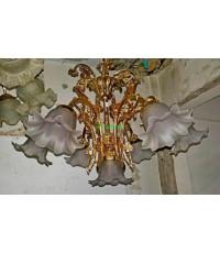 โคมไฟทองเหลือง ทองสำริด และโป๊ะแก้วโบราณ งานอิตาลี