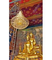 การติดตั้งโคมไฟในพระอุโบสถ  วัดกก  จ.กรุงเทพมหานคร ปี 58