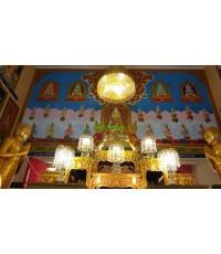 การติดตั้งโคมไฟสุวรรณฉัตร ในพระอุโบสถ วัดเจดีย์ทอง นครนายก  ปี 59