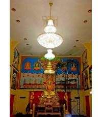 การติดตั้งโคมไฟ ในพระอุโบสถ วัดเจดีย์ทอง นครนายก  ปี 59
