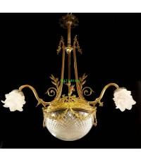 โคมไฟทองเหลืองทองสำริด คิวปิดโป๊ะแก้ว  งานอิตาลี