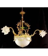 โคมไฟทองเหลืองทองสำริด  งานอิตาลีโป๊ะแก้ว ดอกไม้