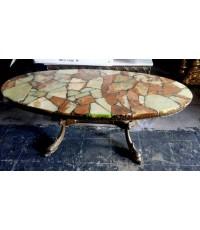 โต๊ะกลางหินอ่อน งานโมเสค  อิตาลี งานยุโรปนำเข้า