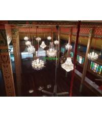 งานติดตั้งโคมไฟแชนเดอร์เรียคริสตัล ศาลา84 ปี  วัดธรรมมงคล    มีนาคม  ปี 64
