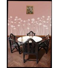 โต๊ะกลมพื้นไม้ปูแมงมุมขาครก + เก้าอี้หัวแอกแขนคันไถ 4 ตัว_14