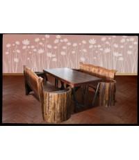 โต๊ะพื้นไม้ขาหมอนอีสาน + เก้าอี้ยาวไหเมี่ยงข้างปีก 2 ตัว_14