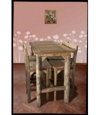 โต๊ะบาร์หน้าลายขาขอนไม้ + เก้าอี้บาร์ไม้ปีกมีพนักพิง 4 ตัว_14