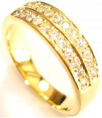 แหวนผู้หญิงหุ้มทองฝังประดับเพชรแถวบนล่างด้วยเพชร CZ เกรดซุปเปอร์พรีเมี่ยม HEARTS ARROWS CUT