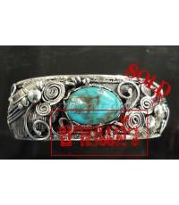 กำไลเงินแท้ กำไลเงินหินเทอร์คอยส์สีฟ้า ลายใบไม้ bamgle silver with turquoise