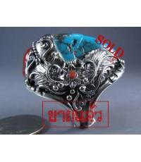 แหวนเงินแท้ หัวเทอร์ควอยส์เจียป็นปากนกอินทรี แบบตั้งติดเม็ดปะการังแดงเม็ดใหญ่หนึ่งเม็ด silver ring
