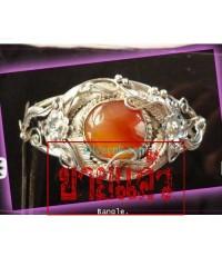 กำไลเงินแท้ ฝังอาเกดสีส้ม ลายใบไม้ Bangle. silver,agate