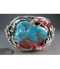 กำไลเงินแท้ ฝังหินเทอร์ควอยส์ อริโซน่า ลายใบไม้ ลงดำขัดเงา ,Bracelet silver ,Turquiose