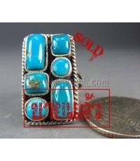 แหวนเงินแท้ ทรงสี่เหลี่ยมฝังเทอร์คอยส์ เม็ดเล็กคละทรง  silver ring,turquoise