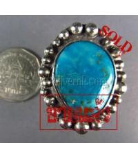 แหวนเงินแท้ หัวเทอร์ควอยส์สีฟ้า ลายเม็ดเงินสลับเล็กใหญ่ ,Silver Ring,Arizona Turquoise