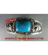 กำไลเงินแท้ หัวเทอร์คอยส์สีฟ้าเม็ดเดี่ยว ลายใบไม้ silver bracelet,turquoise