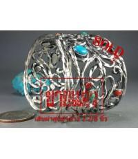 กำไลเงินแท้ ลายเถาวัลย์ ฝังเทอร์ ปะการังแดง เม็ดเล็ก กระจาย silver bracelet,turquoise