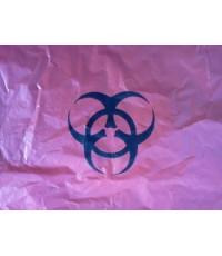 ถุงพลาสติก ถุงขยะ HDPE สีแดง 30 x 40 นิ้ว พิมพ์โลโก้ ขยะติดเชื้อ 210 กก