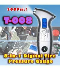 T-008 8-In-1 Multifunction Digital Tire Pressure Gauge