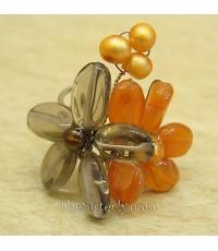 R0738-7 แหวนดอกไม้คู่ สีส้ม/เทา