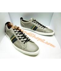 รองเท้า Paul Smith OSMO Trainer New Collection Original หนังสีเทาคาดลายPaulSmith Eur 43,44 คลิก.