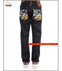 กางเกงยีนส์ Evisu Genes New Original Tannin jeans Straight Leg Jeans Denim Red Ear 28-40 คลิก.