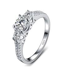 แหวน เพชร รัสเซีย เกรด AAA ตัวเรือนเงินแท้925 แข็งแรงทนทาน สินค้ามี4ไซส์ 6 7 8 9