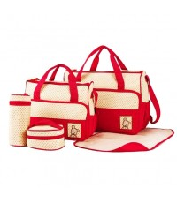 Baby mamy กระเป๋าคุณแม่เซ็ท 5 ชิ้น ลายจุด (สีแดง)