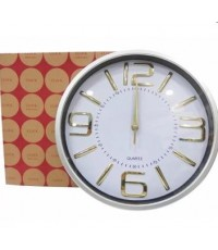 Clock นาฬิกาแขวน นาฬิกาบ้าน นาฬิกาสำนักงาน นาฬิกาแขวนผนัง ขนาด12 นิ้ว [สีเงินอักษรทอง]
