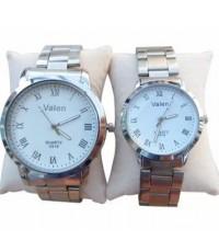 Valen นาฬิกาข้อมือคู่รัก นาฬิกาคู่ นาฬิกาคู่รัก เซ็ตคู่ ทันสมัย นาฬิกาข้อมือ สายสแตนเลส [หน้าปัดขาว