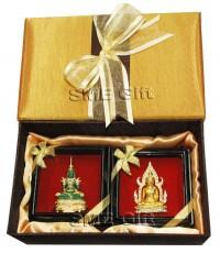 เซ็ทเข็มกลัดพระแก้วมรกต พระพุทธชินราช พร้อมกล่องผ้าไหม