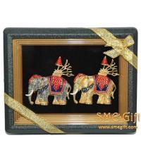 กรอบรูปช้างทรงศัตราวุธคู่ (สีกากเพชร สีทองเงา)