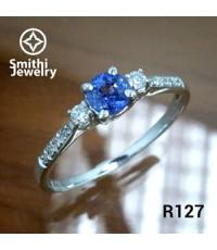 R127sSSA แหวนเงินแท้925 ชุบทองคำขาว ฝังพลอยไพลินแท้และเพชร CZ(Hearts and Arrows)คุณภาพสูง