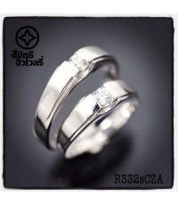 R332sCZA แหวนคู่ เงินแท้925 ชุบทองคำขาว  ฝังเพชร CZ(Hearts and Arrows)คุณภาพสูง