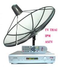 ชุดจานดาวเทียม PSI 1.7 + LNBF + RECEIVER ipm 801 แถม ชุด DUO สนธิ 1 ชุด