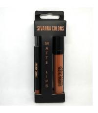 SIVANNA COLORS Matte Lip 2in1 Stick  liner เบอร์ 04 ราคาส่งถูกๆ W.60 รหัส L162