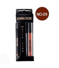 SIVANNA COLORS Matte Lip 2in1 Stick  liner เบอร์ 09 ราคาส่งถูกๆ W.60 รหัส L551