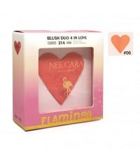 NEE CARA BLUSH DUO 4 IN LOVE N214 NEW COLLECTION FLAMINGO No.06 ราคาส่งถูกๆ w.70 รหัส BO325-6