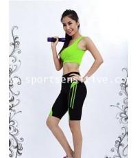 กางเกงแอโรบิค กางเกงโยคะ กางเกงออกกำลังกาย ขาสั้น 3 ส่วน สีดำ/เขียว