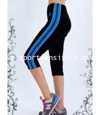 กางเกงแอโรบิค กางเกงโยคะ กางเกงออกกำลังกาย 4 ส่วน ตัดต่อแถบข้าง สีดำ/ฟ้า